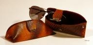 Кожаный Футляр для очков с тиснением № 535-2